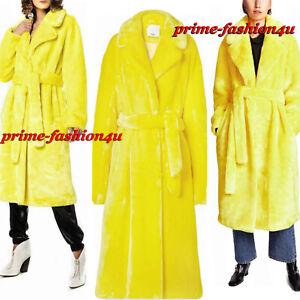 Tibi Bright Yellow Faux Fur Belted  Oversized Midi Coat