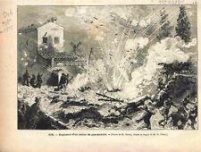 Aix Explosion d'Atelier Usine de Pyrotechnie Fusée Feu d'Artifice GRAVURE 1875