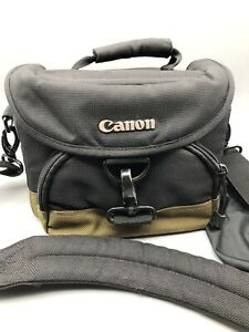 Canon Camera Bag Padded SLR Multi Strap  Black & Green Carry Tote Shoulder Case