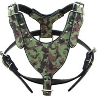 Camouflage Leather Spiked Studded Dog Harness for Large Dogs Pit bull Terrier