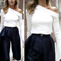 Autumn Winter Women Shirt Split Long Sleeve One Shoulder Tops Lady Casual Blouse