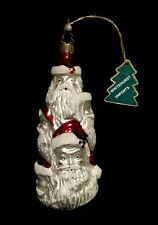 Vintage Mercury Glass Whitehurst Imports Santa Stack Christmas Ornament Germany