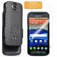 For Kyocera Duraforce Pro Belt Clip Holster Case with Tempered Glass Protector