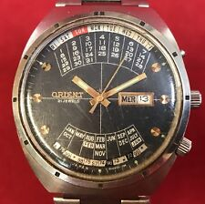 Vintage ORIENT JAPAN Kalendar Armbanduhr Herren Stahl Automatik