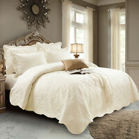 Luxury 3 Piece Quilted Cotton Bedspread Bed Throw Single Double King Bedding Set