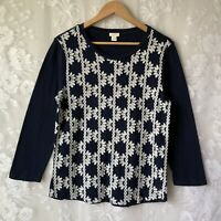 J CREW White Floral Embroidered Navy Blue Long Sleeve Top Cotton Women's L