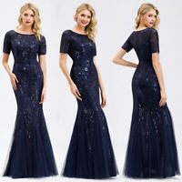 Ever-Pretty Fishtail Bodycon Dress Long Sequins Mesh Formal Evening Gowns 07705