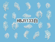 WHITE Peacock Feathers 3D Nail Art Sticker Decals UV Gel Polish Manicure Tips