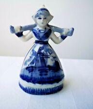 Delft Pottery Holland Dutch Blue & White Ornament Milk Maid Wind Mill