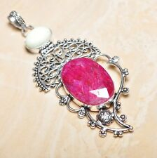 "Handmade Cherry Ruby Natural Gemstone 925 Sterling Silver Pendant 3.5"" #P15502"