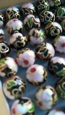 80+ Vintage Cloisonne 12mm Round Beads—Black with Pink and Green Floral Accent
