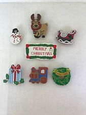 Button Covers lot of 7 Merry Christmas Holiday Joy gifts train wreath sleigh