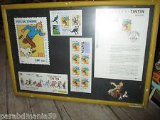 Vente Hergé-Tintin-Lot timbres de collection,petit et grands format-sous cadre