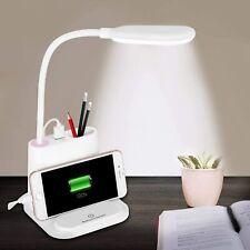 Blanco LED Lámpara de escritorio con puerto de carga USB & Pen Holder 360 ° Manguera metálica flexible