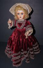 "SALE  Antique FRENCH Paper Mache Doll Original Velvet Gown 14""/15"""