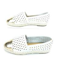 Sole Society Elodie Perforated Womens Loafer Shoe 9 White Gold Cap Toe Leather