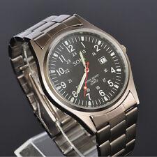 New SOKI Military Army Date Analog Quartz Mens Wrist Band Metal Band Watch W30