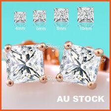 24K ROSE GOLD GF LAB DIAMOND MENS LADIES KIDS CRYSTAL SQUARE STUD EARRINGS GIFT