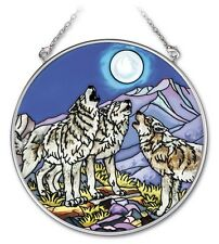 """AMIA STAINED GLASS SUNCATCHER 4.5"""" ROUND WOLF PACK WOLVES HOWLING AT MOON #41731"""