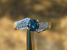 .64ctw 10K WHITE GOLD WHITE AND BLUE  DIAMOND RING!!