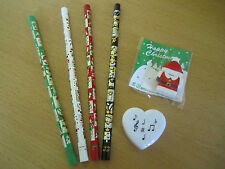 CHRISTMAS PENCIL SET with Christmas Pencils, Snowman Eraser and Note Sharpener