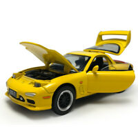 1:32 Scale Mazda RX-7 Model Car Diecast Toy Vehicle Sound Light Yellow Kids Gift
