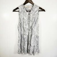 Floreat Anthropologie Women's Tie Front Flowy Top Size 6 White Grey Light Tiered