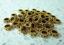 50 Gold Colour Ring Charm Spacer Beads Findings 6x3mm 3mm Hole Bracelet Necklace