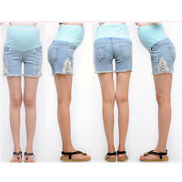 Maternity Overbumped Jeans Shorts Pregnancy Trousers Cute Comfy 6 8 10 12 14