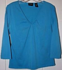 Women's New York & Company Stretch 3/4 Sleeved Blue Top - Size M