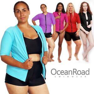 Womens Rash Guard Zip size 8 - 30 Rashie Short Sleeve Vest Swim Shirt Black Blue