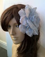 grey satin flower fascinator millinery burlesque wedding hat bridal race