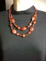 "Brown Beaded Necklace with matching Earrings 20"" Double Strand"