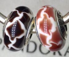 2X Authentic Pandora 925 ale  silver beads  charm pink BLACK ORANGE GIRAFFE