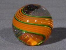 Marbles: Hand Made Art Glass Alloway Dichroic Orange Green #2950     1.19inch
