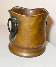 antique handmade forged dovetailed copper wrought iron handle metalware pot