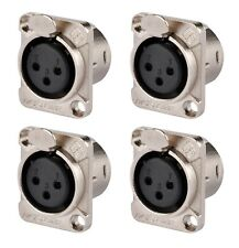 (4 Pack) XLR 3-Pin Female Panel Mount Chassis Jacks - Free US Shipping