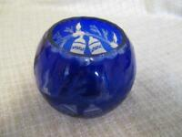 G6  Romania Cobalt Cut to Clear Art Glass Rose Bowl - Christmas Bell Scene
