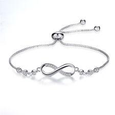 "18K White Gold Plated Aaa+ Cubic Zircon ""8"" Shape Infinity Adjustable Bracelet"