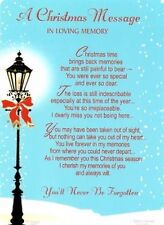 A Christmas Message In Loving Memory Graveside Memorial Card