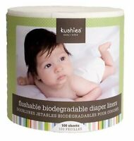 Kushies Flushable & Fully Biodegradable Diaper Liners, 100 Sheets - 533501