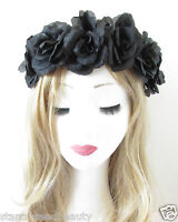 Black Rose Flower Headband Garland Vintage Hair Crown Festival Boho Elastic R95