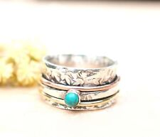 Turquoise Solid 925 Sterling Silver Spinner Ring Meditation Statement Ring JJ888