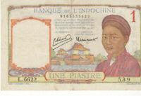 BILLET DE BANQUE D'INDOCHINE UNE PIASTRE 1932 1939 VERY FINE / TTB
