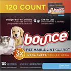 Bounce Pet Hair and Lint Guard Mega Dryer Sheets, Fresh Scent, 120 Count, White