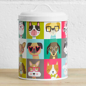 Cute Dog Biscuit Treat Tin 2.3L Small Food Storage Kitchen Container Box Jar Pot