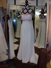 Bridal Gown by Landa Designs sz10 White,Chiffon, A-Line w/Spaghetti Straps