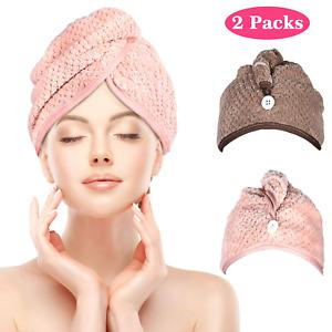 2PCS Microfibre Hair Drying Towel Wrap Turban Head Hat Bun Cap Shower Dry UK