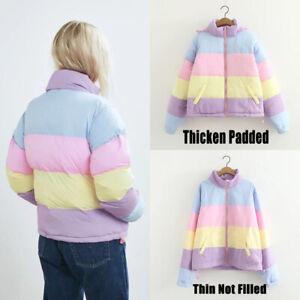 Women Girl Winter Warm Jacket Coat Parkas Rainbow Hooded Padded Outwear Overcoat