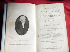 1794 1st THOMAS HARDY TRIAL FOR HIGH TREASON Famous British Case, Thomas Erskine